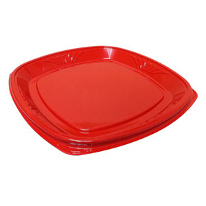 14IN FORUM SHALLOW TRAY N/C RED