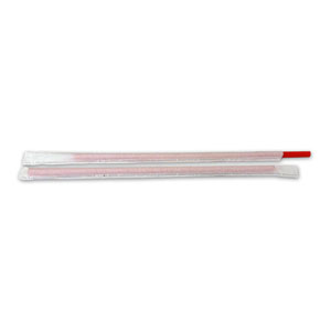 9 IN JMBO Straw Red Wrapped
